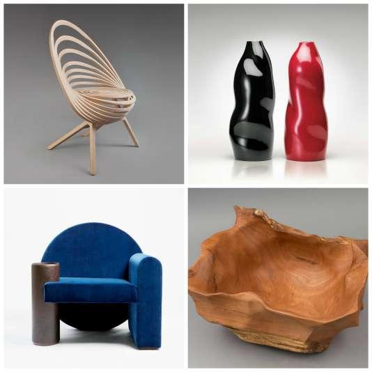 Chaise d'Adrien Ancel, Ateliers Amea Estampille 52 ; vases d'Hae-Cho Chung, Corée du Sud ; fauteuil du studio Pool, Gallery S.Bensimon et vide-poche d'Egon Munoz, Chili (de gauche à droite et de bas en haut).