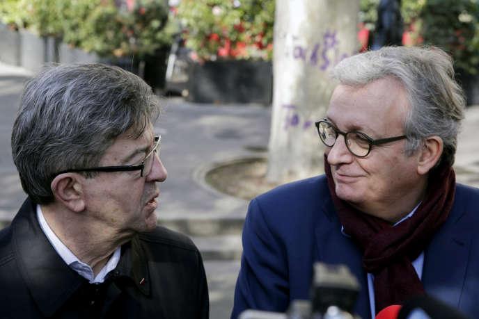 Conférence de presse commune de Jean-Luc Mélenchon (La France insoumise) et Pierre Laurent (PCF), le 24 février.