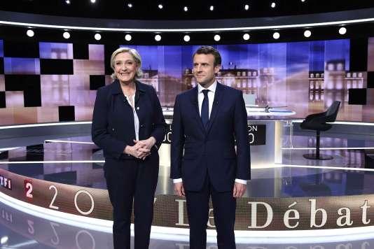 Marine Le Pen et Emmanuel Macron avant le débat qui les a opposé, le 3 mai.