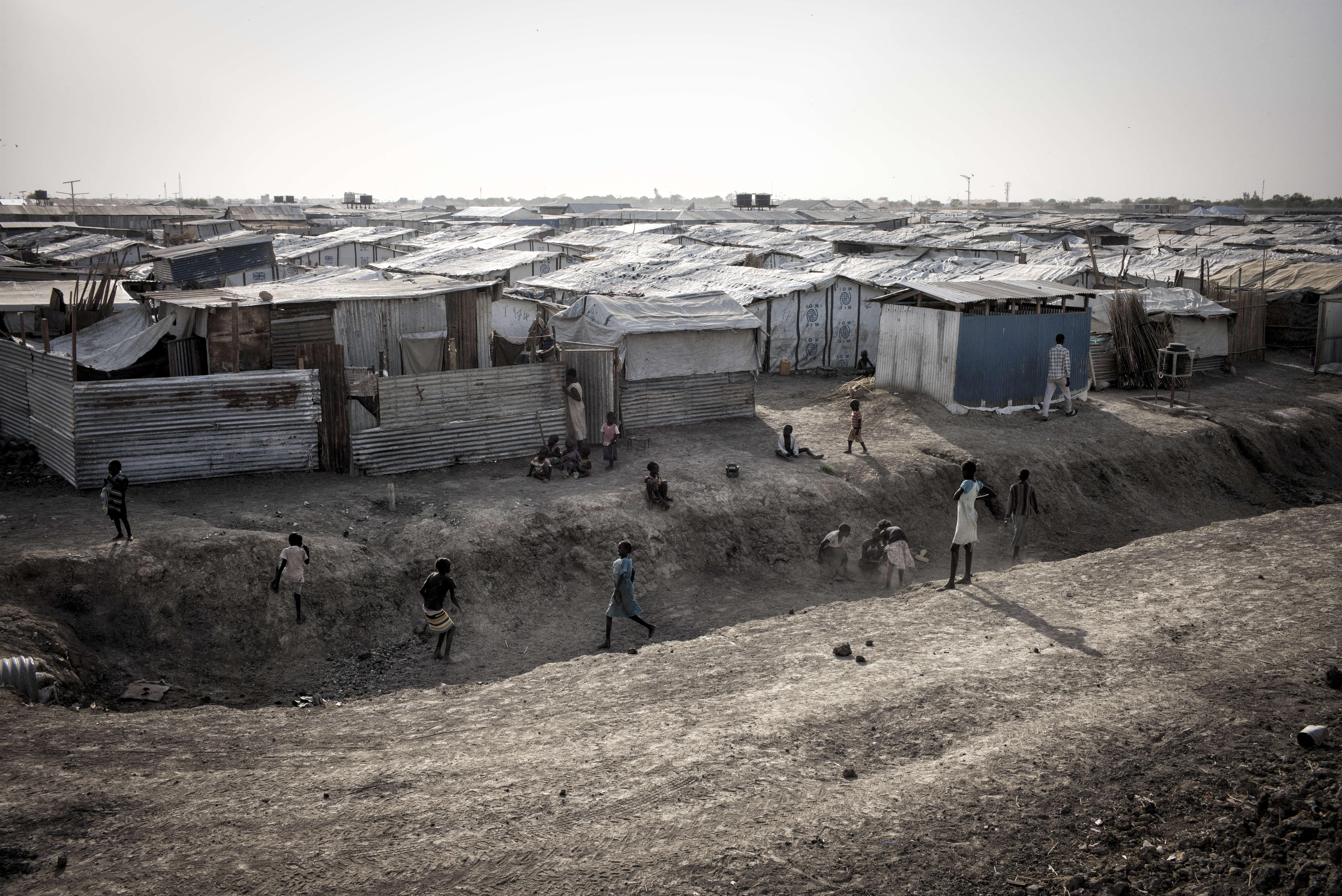 Vue partielle du camp de protection des civils de la Mission des Nations unies au Soudan du Sud, la Minuss, près de Malakal.