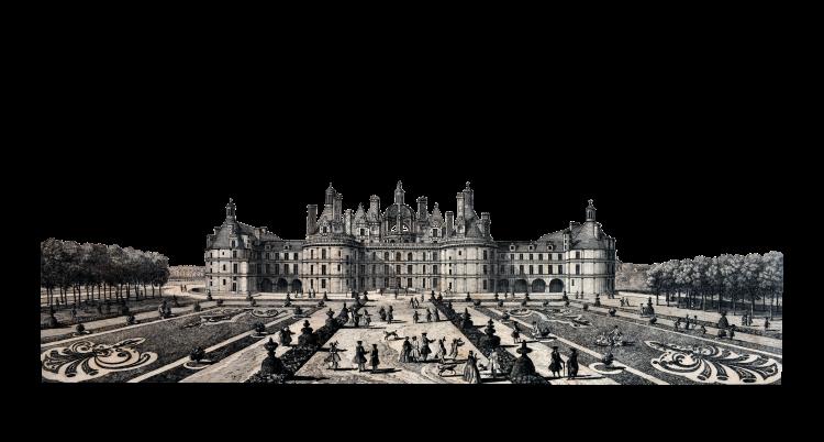 Estampe de Jacques Rigaud (1748), montrant le « château royal de Chambord du côté du parterre».