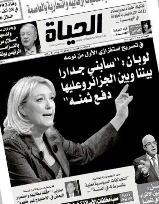 La «une» dujournal algérien «El Hayat», le 14février 2017.
