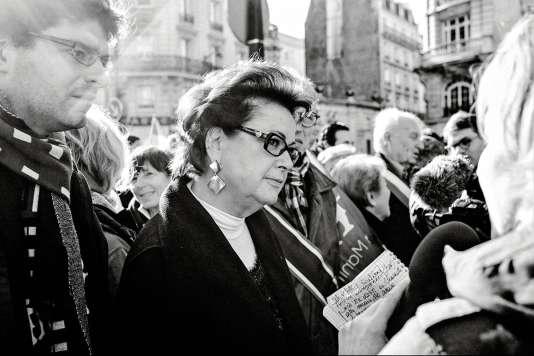 Christine Boutin lors d'un rassemblement de La Manif pour tous en 2014.