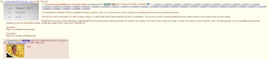 Un internaute anonyme a publié sur le forum Internet 4chan les liens vers les deux documents censés incriminer Emmanuel Macron.