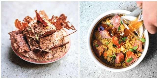 Parmi les spécialités, le couscous de Morteau (à dr.) et la ganache au chocolat.