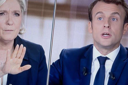 Lors du débat entre Marine Le Pen et Emmanuel Macron, le 3 mai.