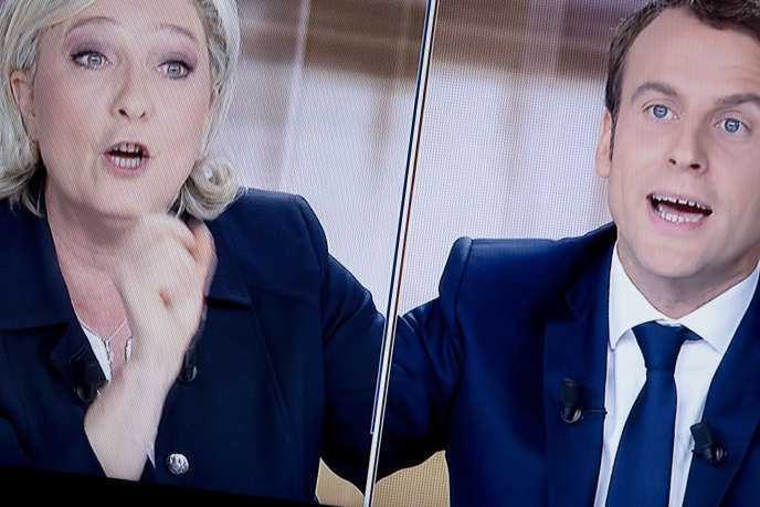 Marine Le Pen et Emmanuel Macron lors du débat télévisé de l'entre-deux-tours, mercredi3 mai 2017.