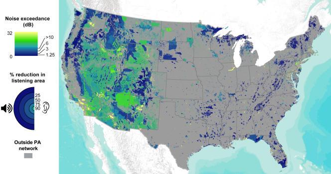 Cartographie des nuisances sonores sur le territoire des Etats-Unis.