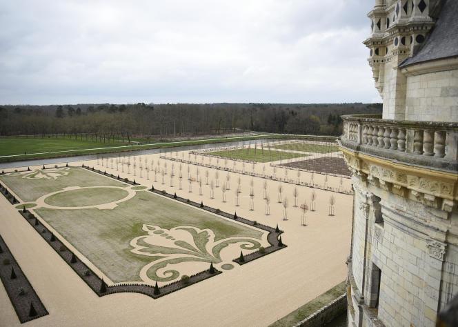 Le château de Chambord et ses jardins, le 19 mars 2017.