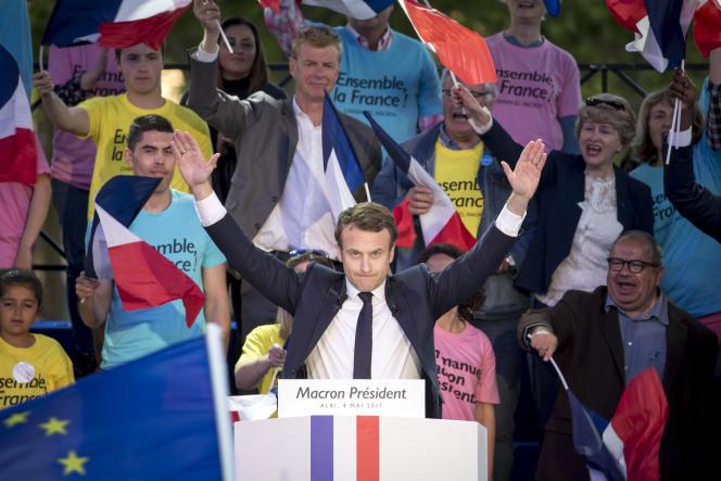 Emmanuel Macron lors de son meeting de campagne à Albi, le 4 mai.