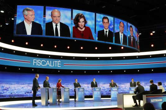 L'un des débats télévisés organisés sur TF1 à l'occasion des primaires à droite, en octobre 2016.