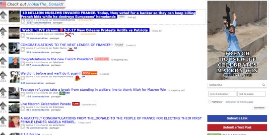 Sur Reddit/The_Donald, soutien historique de Donald Trump et désormais de Marine Le Pen, intox et analogies islamophobes ont accueilli l'élection d'Emmanuel Macron.