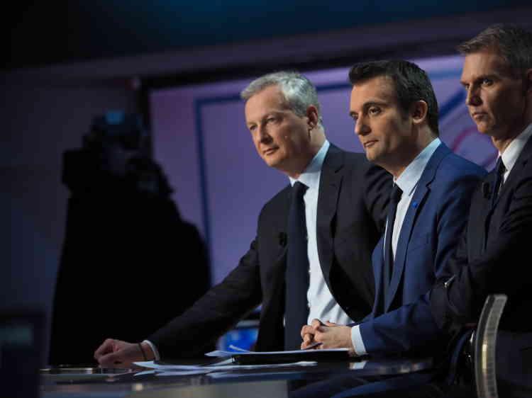 Bruno Le Maire (Les Républicains) et Florian Philippot sur le plateau de TF1, dimanche soir.