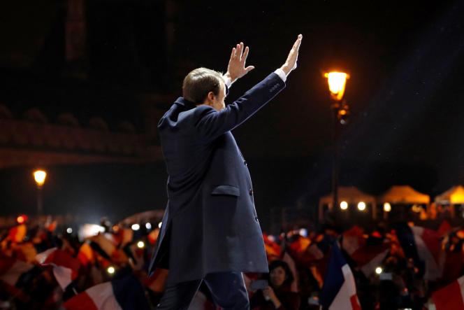 Emmanuel Macron, le 7 mai, lors du rassemblement au Louvre, à Paris, après la proclamation des résultats de l'élection présidentielle.