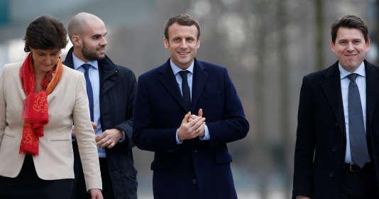 Le candidat Emmanuel Macron en visite à Berlin, le 16 mars 2017.