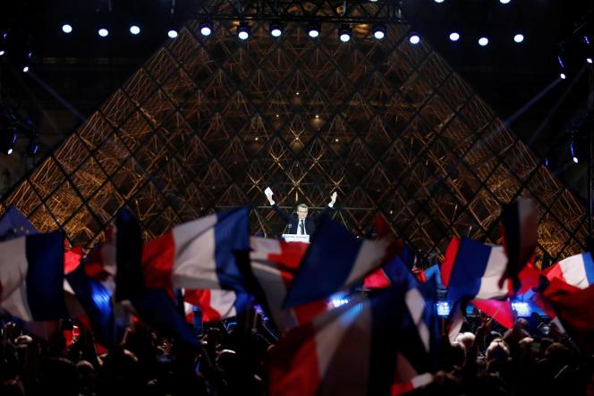 Emmanuel Macron, au Louvre, après son élection à la présidence de la République, le 7 mai 2017.
