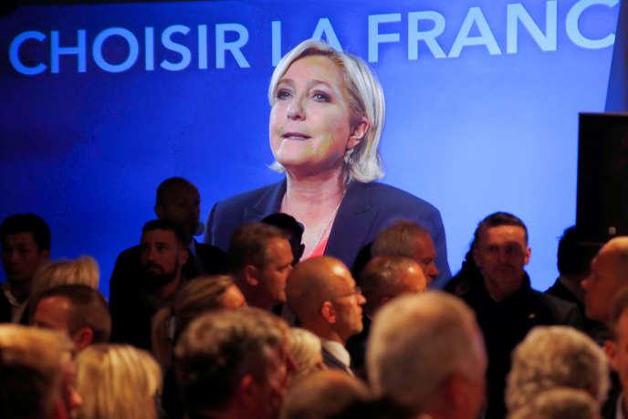 Marine Le Pen lors de sa soirée électorale, le 7 mai.
