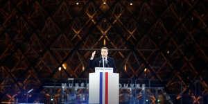 Emmanuel Macron au Louvre, le soir de son élection à la présidence, le 7 mai 2017.