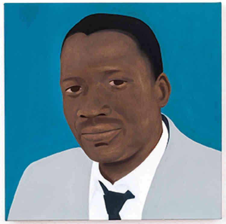 « Sobukwe (After Robert Sobukwe) », 2017.Huile sur toile, 50 × 50 cm.D'origine gréco-américaine par sa mère et sud-africaine par son père, Thenjiwe Niki Nkosi, née en 1980 à New York, étudie à Harvard et à la School of Visual Arts à New York avant de rentrer, en 1992, en Afrique du Sud, pays que ses parents, militants engagés, avaient été contraints de fuir pendant l'apartheid. Marquée par ces différents déplacements, elle développe une œuvre qui, à travers des médiums variés, convoque les notions d'exil, de mémoire et d'origine, et dans laquelle s'entremêlent histoires personnelle et collective.