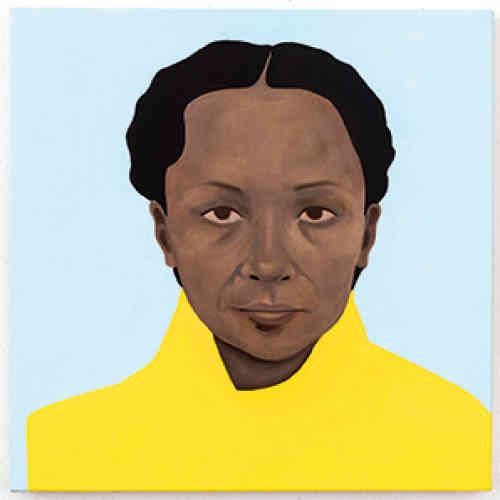 « Sunstrum (After Pamela Phatsimo Sunstrum) », 2017. Huile sur toile, 50 × 50 cm.D'origine gréco-américaine par sa mère et sud-africaine par son père, Thenjiwe Niki Nkosi, née en 1980 à New York, étudie à Harvard et à la School of Visual Arts à New York avant de rentrer, en 1992, en Afrique du Sud, pays que ses parents, militants engagés, avaient été contraints de fuir pendant l'apartheid. Marquée par ces différents déplacements, elle développe une œuvre qui, à travers des médiums variés, convoque les notions d'exil, de mémoire et d'origine, et dans laquelle s'entremêlent histoires personnelle et collective.