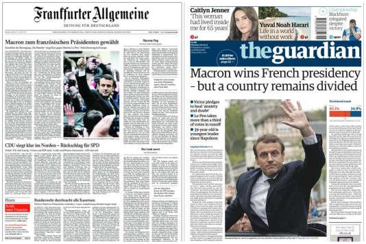 Les Unes du« Frankfurter Allgemeine» et du« Guardian», lundi 8 mai.