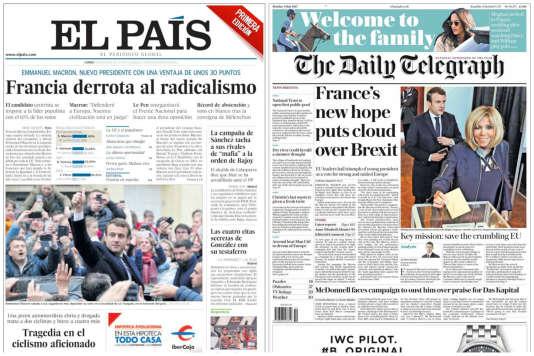 Les Unes de « El Pais» et du« Daily Telegraph», lundi 8 mai