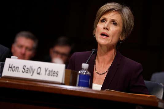 L'ancienne ministre de la justice américaine par intérim Sally Yates, lundi 8 mai, devant la commission judiciaire du Sénat.