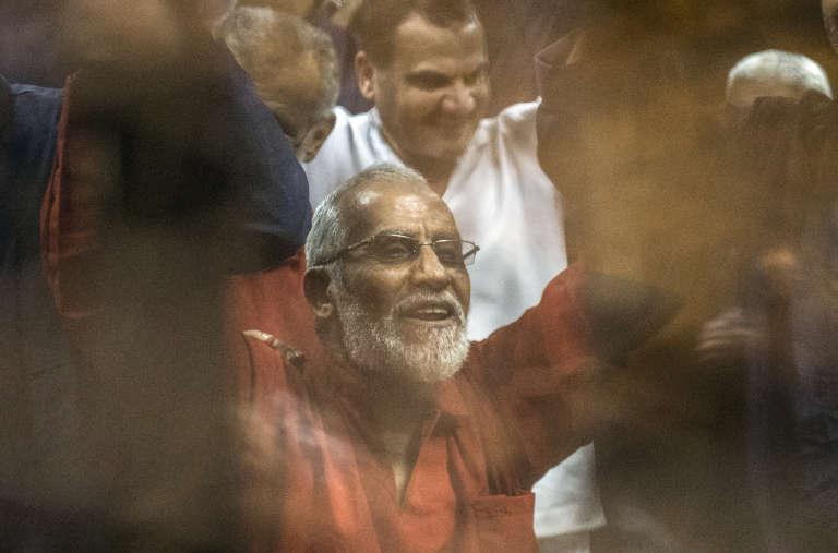 Mohamed Badie lève les bras après l'annonce d'un verdict qui prévoit la peine de mort, le 16 mai 2015, au Caire.