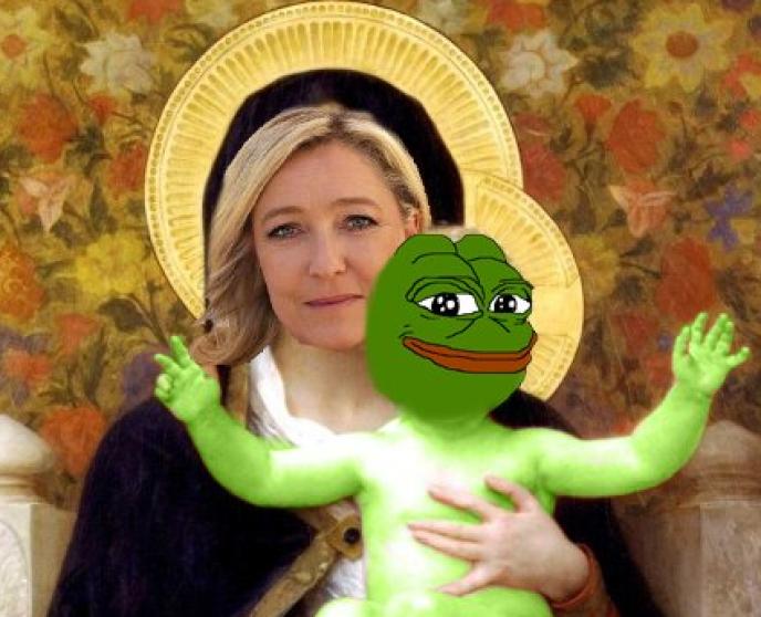 Exemple de mème pro-Marine Le Pen diffusé sur le forum 4chan/pol, au soir du second tour de l'élection française, dimanche 7 mai.