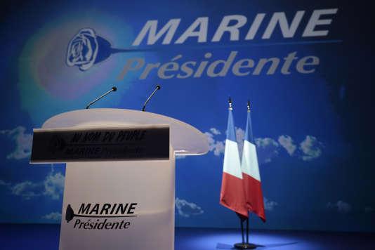 Avant un meeting de Marine Le Pen, à Paris, le 17 avril.