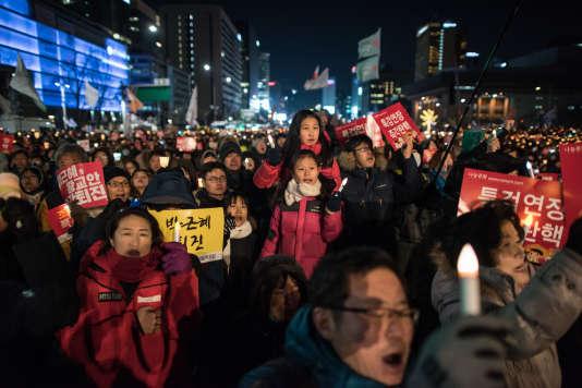 Manifestation à Séoul, le 11 février, pour appeler à la destitution de la présidente Park Geun-hye.