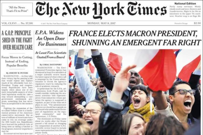 La Une du« New-York Times», lundi 8 mai