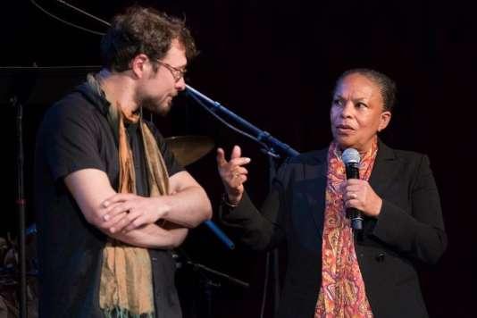 Blaise Merlin et Christiane Taubira, lors du festival La Voix est libre,le 5 mai 2017.