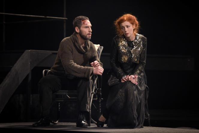 Kyle Ketelsen (Golaud) et Patricia Petibon (Mélisande) dans« Pelléas et Mélisande» au Théâtre des Champs-Elysées à Paris, le 29 avril 2017.