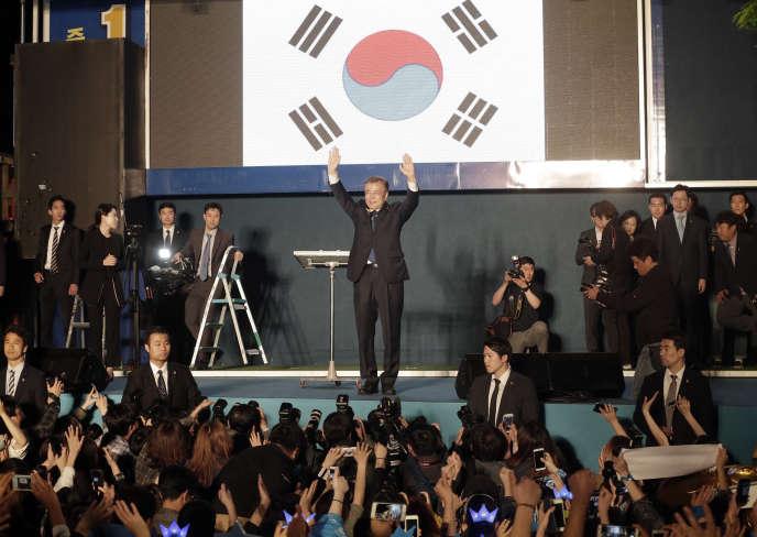 «C'est une grande victoire pour créer un pays de justice», a annoncé le douzième président coréen, Moon Jae-in – ici mercredi 10 mai 2017.