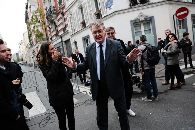 Jean-Paul Delevoye au QG d'Emmanuel Macron à Paris, le 8 mai.