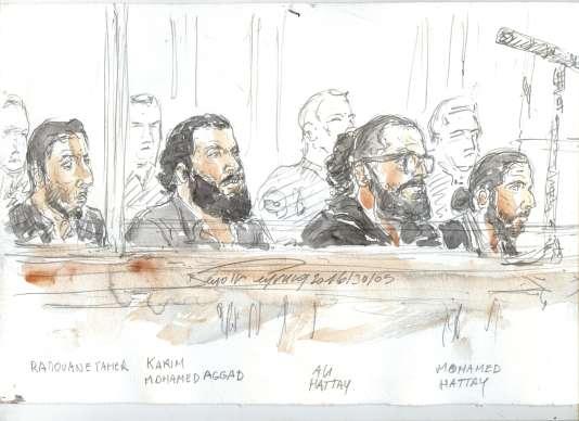 Croquis d'audience de quatre prévenus de la filière strasbourgeoise pendant leur procès à Paris, le 30 mai 2016.