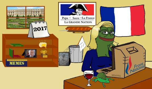 Pepe la grenouille récupérée par l'extrême droite américaine, a été mise au service de la communication des militants lepénistes sur les réseaux sociaux.