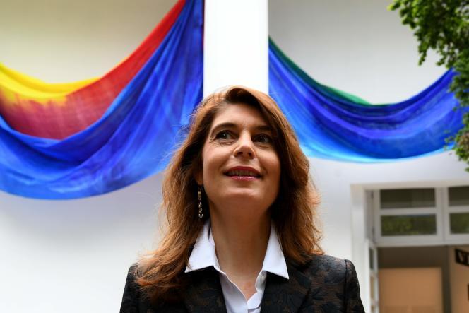 La commissaire générale de la 57e Biennale de Venise, Christine Macel, lors d'une conférence de presse à Venise, le 9 mai 2017.