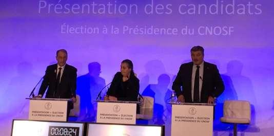 Les trois candidats à la présidence du CNOSF (de gauche à droite : Denis Masseglia, Isabelle Lamour et David Douillet) présentent leur projet, le 25 avril à la Maison du sport.