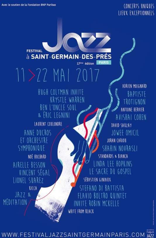 Affiche du festival Jazz à Saint-Germain-des-Prés, jusqu'au 22 mai.