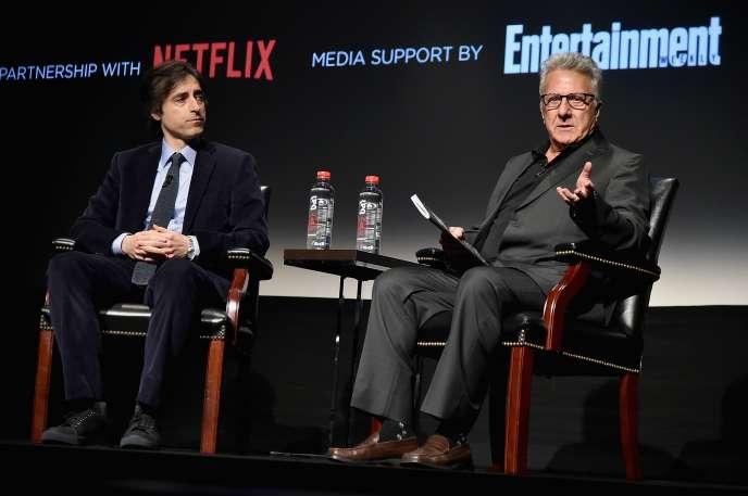 Noah Baumbach et Dustin Hoffman lors du Festival du film de Tribeca (New York), le 24 avril 2017.