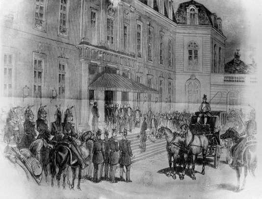 Gravure d'Albert Harlingue montrant l'arrivée du prince Louis-Napoléon Bonaparte, président de la République française, à l'Elysée, à Paris, le 20 décembre 1848.