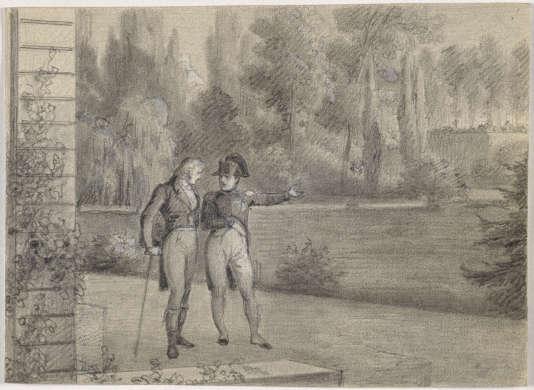 « Napoléon Ier et Benjamin Constant dans les jardins de l'Elysée en juin 1815 », par Henri-Félix-Emmanuel Philippoteaux.