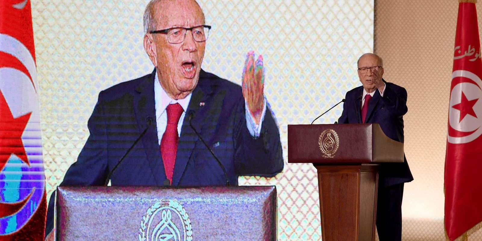 Le président tunisien Beji Caid Essebsi lors de son discours du 10 mai à Tunis.