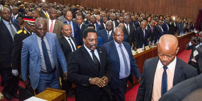 Le président congolais Joseph Kabila au Palais du peuple, à Kinshasa, le 5 avril 2017.