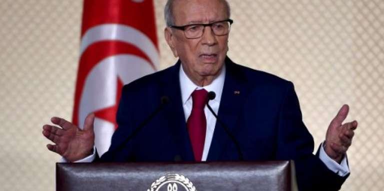 Le président tunisien Béji Caïd Essebsi lors de son discours au Palais des congrès de Tunis, le 10 mai 2017.