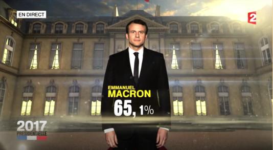 Capture d'écran de France 2, images diffusées dans le Daily Show, sur Comedy Central, le 8 mai 2017.