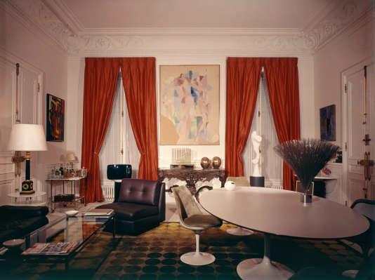 Le salon- salle à manger de Georges Pompidou, au Palais de l'Elysee, à Paris, dans les années 1970.