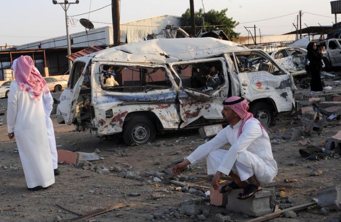 A Najran, en Arabie saoudite, une semaine après un tir de roquette, en août 2016.